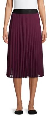 Time and Tru Womens Pleated Midi Skirt
