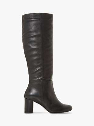 Dune Silene Leather Ruched Block Heel Knee High Boots