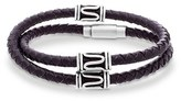 Steve Madden Men's Double Wrap Braided Leather Bracelet