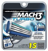 Gillette Mach3 Turbo Men's Razor Blade Refills, 15 Count