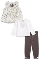 Little Me Infant Girl's Leopard Faux Fur Vest, Tee & Leggings Set
