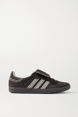 adidas Wales Bonner Samba Crochet-trimmed Suede And Leather Sneakers - Black