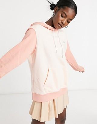 Nike mini metallic swoosh oversized colour block hoodie in tonal coral