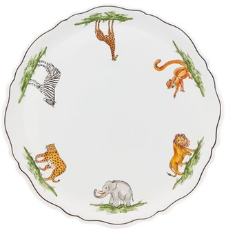 Zdg - Safari Hand-painted Faience-ceramic Serving Plate - White Multi