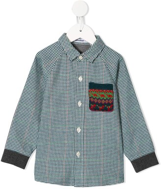 Familiar Panelled Houndstooth Shirt