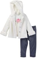 Little Me Shiny Faux Fur & Faux Suede 3-Piece Jacket Set (Baby Girls)