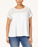 Style&Co. Style & Co. Plus Size Lace-Yoke T-Shirt, Only at Macy's