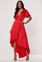 Missguided Tall Red Satin Wrap Ruffle Asymmetric Midi Dress