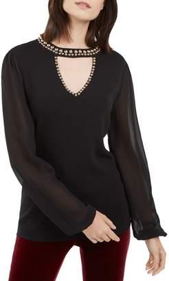 INC International Concepts Petite Studded Sheer-Sleeve Top