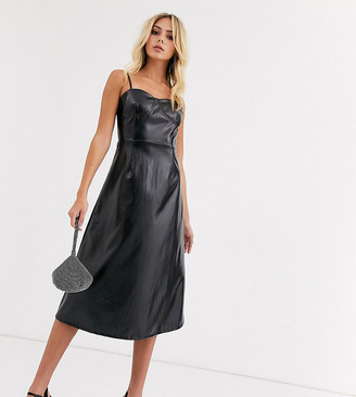 Wild Honey a-line cami midi dress in faux leather-Black