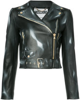 Moschino biker jacket - women - Leather/Viscose - 40