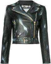 Moschino biker jacket - women - Viscose/Leather - 40