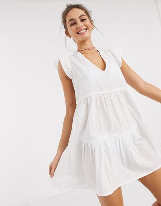 Influence cotton tiered beach dress in white