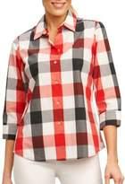 Foxcroft Petite Three-Quarter Check Shirt