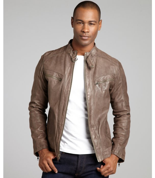 Cole Haan charcoal washed leather fleece-lined motorcycle jacket