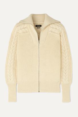 Isabel Marant Lenz Cable-knit Alpaca And Wool-blend Cardigan - Ecru