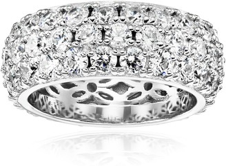 Amazon Collection Platinum Plated Sterling Silver Swarovski Zirconia 3 Row Pave Round Cut Ring Size 6