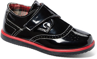 AXNY Boys' Loafers Black - Black & Red Patent Faux Leather Oxford - Boys