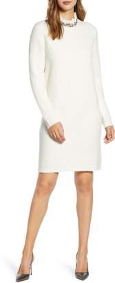 Rachel Parcell Beaded Collar Sweater Dress