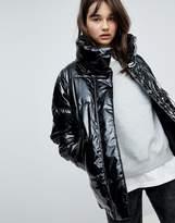 Monki Vinyl Padded Jacket