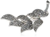Goldmajor Marcasite & 925 Sterling Silver Plain and Elegant Leaf Brooch