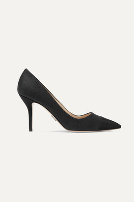Paul Andrew Pump It Up Grosgrain-trimmed Canvas Pumps - Black