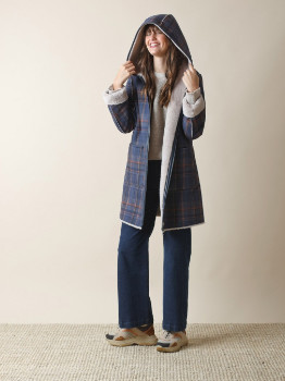 Indi & Cold - Plaid Coat with Faux Fur Reverse - polyester | Size M