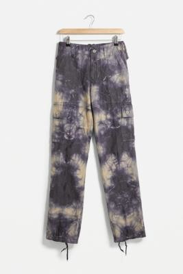 Urban Renewal Vintage Navy and Beige Tie-Dye Cargo Trousers - Blue 28 at Urban Outfitters