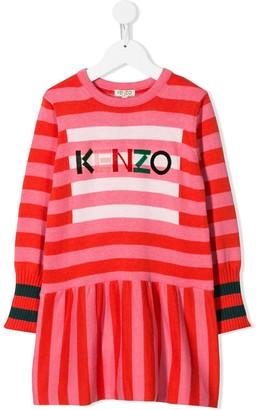 Kenzo Kids Striped Pattern Knitted Dress