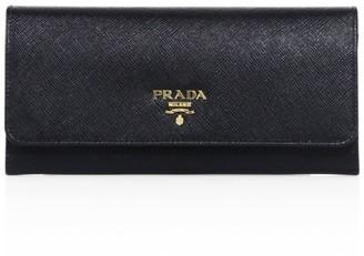 Prada Saffiano Leather Continental Flap Wallet