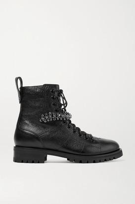 Jimmy Choo Cruz Crystal-embellished Textured-leather Ankle Boots - Black