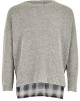 River Island Girls grey double layer sweater