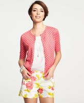 Ann Taylor Summer Dot Print Crew Neck Short Sleeve Cardigan