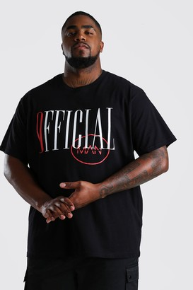 boohoo Mens Black Big And Tall Loose Fit Official MAN T-Shirt, Black