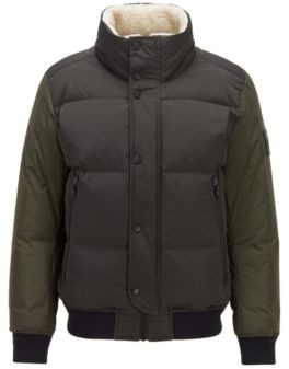 HUGO BOSS Relaxed-fit down jacket with teddy collar lining