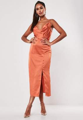 Missguided Rust Satin Button Side Cami Midi Dress