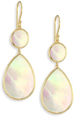 Ippolita Polished Rock Candy 18K Yellow Gold & Mother-Of-Pearl Snowman Double-Drop Earrings
