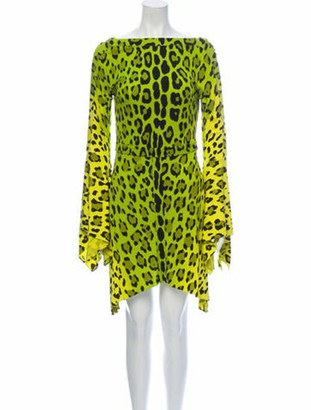 Tom Ford Animal Print Mini Dress Yellow