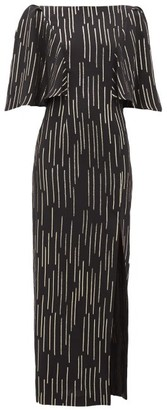 Adriana Iglesias Taylor Lame-striped Silk-blend Dress - Black Gold