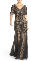 Adrianna Papell Embellished Mesh Gown