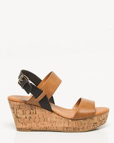 Le Château Faux Leather Double Band Wedge