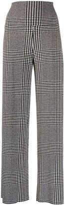 Norma Kamali Plaid Print Wide-Leg Trousers
