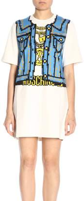 Moschino Dress Capsule Collection Pixel Dress In Cotton With Printed Vest