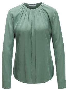 BOSS Silk-blend blouse with gathered neckline