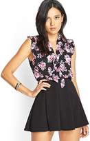Forever 21 Floral Print Tie-Front Blouse