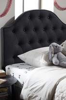 Wholesale Interiors Windsor Modern and Contemporary Dark Grey Fabric Upholstered Scalloped Buttoned Twin Size Headboard