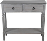Privilege Slate Gray Two-Drawer Console Table