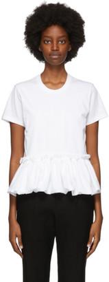 Noir Kei Ninomiya White Gathered Hem T-Shirt