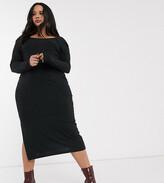 Asos DESIGN Curve long sleeve square neck rib midi dress