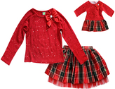 Dollie & Me Red Bow-Accent Long-Sleeve Tee Set & Doll Outfit - Girls